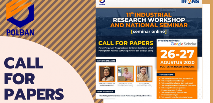UPDATE: CALL FOR PAPERS  11th Industrial Research Workshop and National Seminar